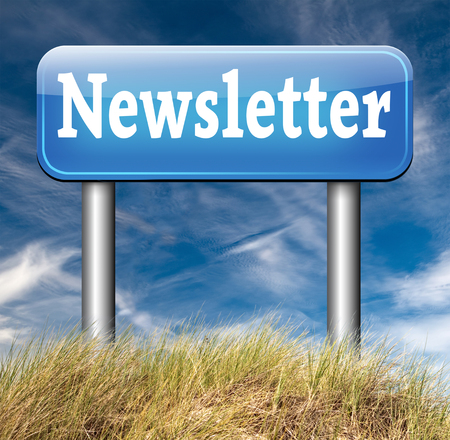Newsletter sign with hot news items and latest articles blue road sign photo