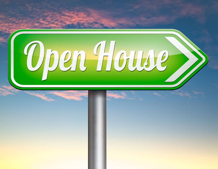 house for sale: Open house for sale sign at model house for buying real estate property