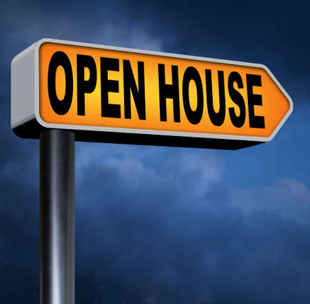 Open house for sale sign at model house for selling or buying real estate property road sign photo