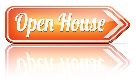 buying real estate: Open house for sale sign at model house for buying real estate property