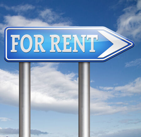 for rent sign: For rent sign renting a house apartment or other real estate road sign. Home to let