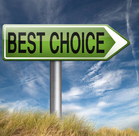 raod: best choice top quality product label best  comparisonpromotion raod sign  with text and word concept Stock Photo