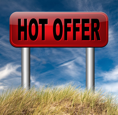 bargain for: hot offer  or sign for online webshop. Internet web shop concept. shopping sales  announcing bargain for low and best price with the best value for you money.  Stock Photo