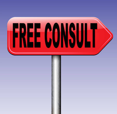 service desk: free consult road sign or help and information desk icon optimal customer support Gratis consultation service and advice.  Stock Photo