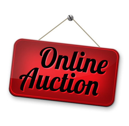 online auction: Online auction bidding. Buy or sell on the internet. Stock Photo