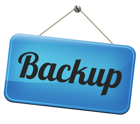 data archiving: Backup data and software on copy in the cloud on a harddrive disk on a computer or server for file security Stock Photo