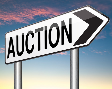 online bidding: Online auction icon. Selling and buying on the internet of products cars houses and real estate. Stock Photo