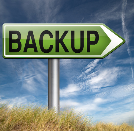 data archiving: Backup data and software on copy in the cloud on a harddrive disk on a computer or server for file security. Internet safety