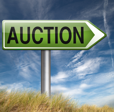 online bidding: Auction of houses cars and real estate. Online bidding road sign