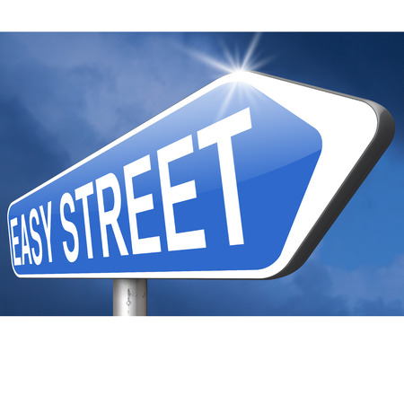 taking risks: easy street or way not taking any risks stay in comfort zone and avoid risks Stock Photo