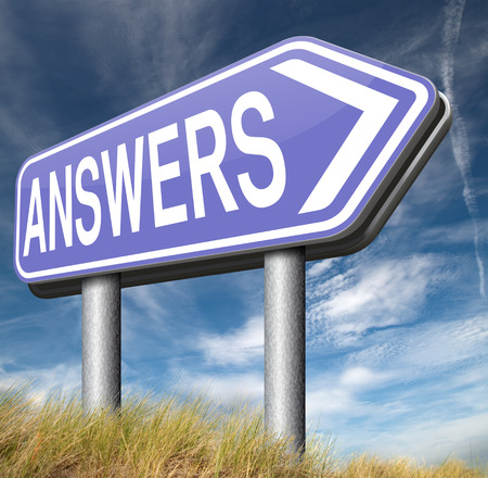 find answers indicating way to solve problems answer road sign search answer and discover truth text and word concept photo