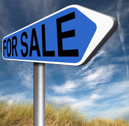For sale road sign, selling a house apartment or other real estate label. Buy online at internet web shop photo
