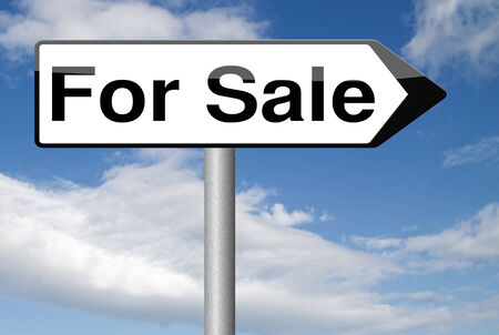 buy online: For sale road sign, selling a house apartment or other real estate label. Buy online at internet web shop Stock Photo