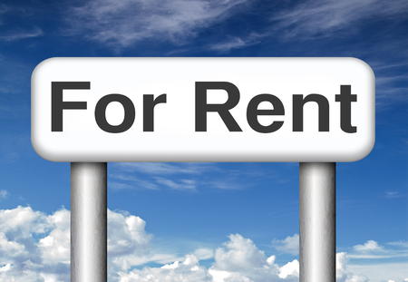 For rent banner, renting a house, flat, apartment or other real estate sign. Home or room to let photo