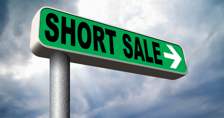 house prices: short sale reduced prices sales banner mortgage foreclosure and house reposession  Stock Photo