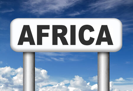 africa continent:  Africa continent tourism vacation and travel destination sign