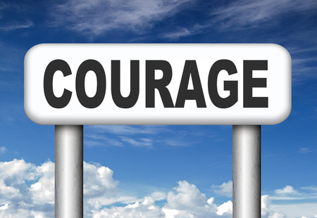 courage no fears and bravery the ability to confront fear pain danger uncertainty and intimidation fearless courageous road sign arrow  photo