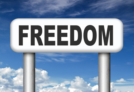 obligations: freedom no restrictions road sign peaceful free life without or obligations and peace democracy with text and word concept  Stock Photo