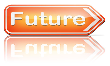 bright future: bright future ahead planning a happy future having a good plan with text and word concept  Stock Photo