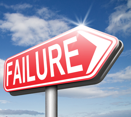 failed attempt: big failure ends in disaster fail exam test or other attempt failing examination is a disappointment  Stock Photo