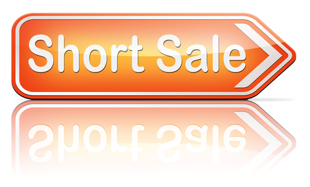 reduced: short sale reduced prices sales banner mortgage foreclosure and house reposession  Stock Photo