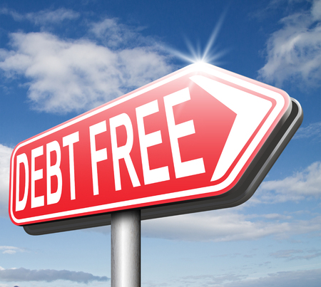 debt free zone or tax reduction today relief of taxes having good credit financial success paying debts for financial freedom road sign arrow  photo