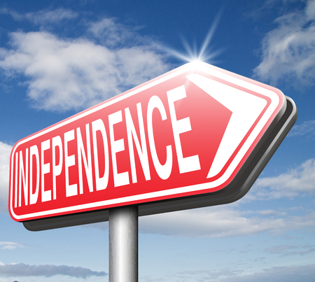self sufficient: independence road sign independent life, live self sufficient