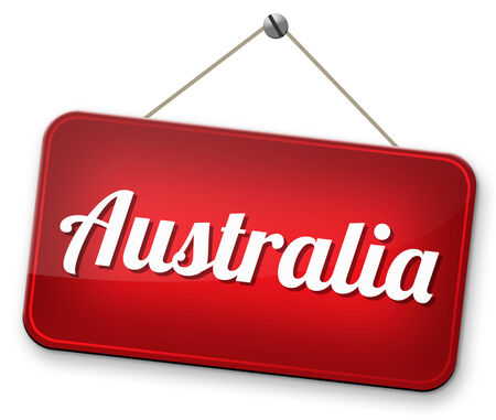 Australia down under continent tourism holiday vacation economy visit and explore the country and outback road sign photo