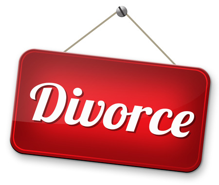 mariage: divorce papers or document by lawyer to end marriage dissolution often after domestic violence alimony
