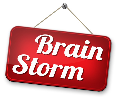 brain storming: Brainstorm teamwork to creative fresh idea or solution team brain storming search innovation and inspiration road sign Stock Photo