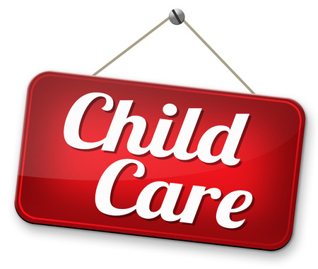 child care: child care in daycare or crèche by nanny or au pair parenting or babysitting protection against child abuse sign