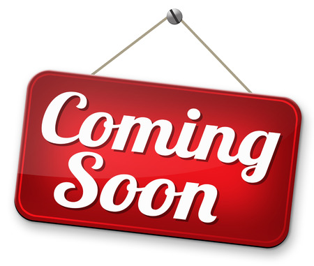 곧 오는 새로운 제품 출시를 다음 승진까지 상표를하고 다음 시즌 또는 주 새로운 다가오는 매력 또는 이벤트 발표 스톡 콘텐츠 - 32408328
