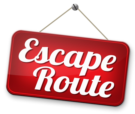 escape route avoid stress and break free running away to safety no rat race Stock Photo