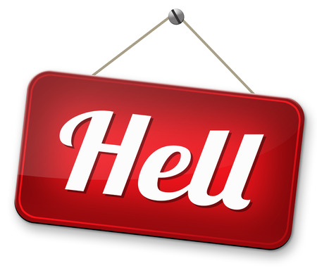 sinner: welcome to hell evil sinner go to the devil disaster Stock Photo