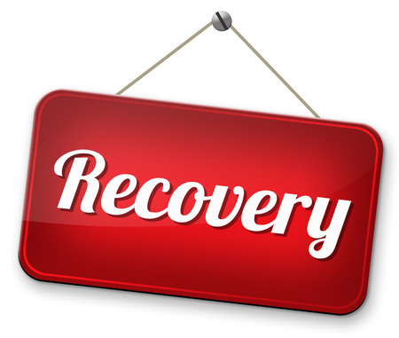 data recovery: Recovery of lost data or from crisis and recession road to full economic recovery Stock Photo