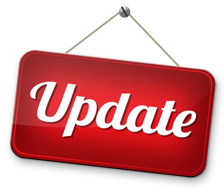 Update  updating software now and here to the latest newest version or new edition Stockfoto