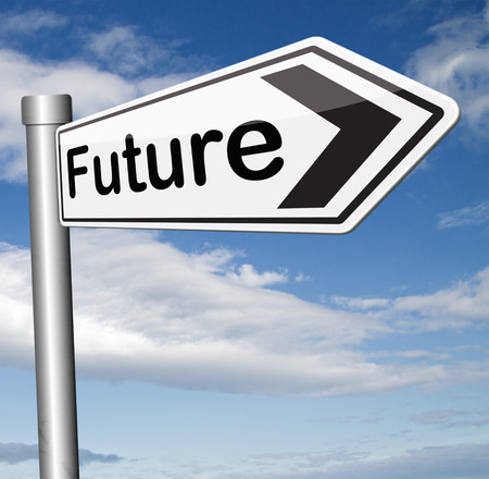 bright future ahead planning a happy future having a good plan with text and word concept science fiction prediction photo