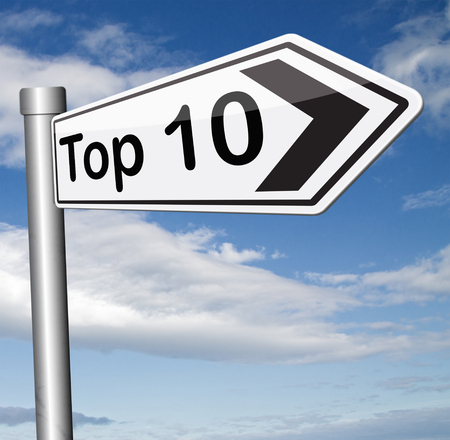 hits: top 10 charts list pop poll result  and award winners chart ranking music hits best top ten quality rating prize winner Stock Photo