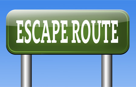 escape route to safety emergency exit avoid stress and break free running away no rat race Stock Photo