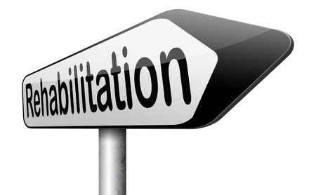 rehabilitation rehab for drugs alcohol addiction or sport and accident injury physical or mental therapy road sign photo