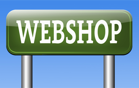 webshop: webshop online shopping at internet web store or shop buy or sell online Stock Photo
