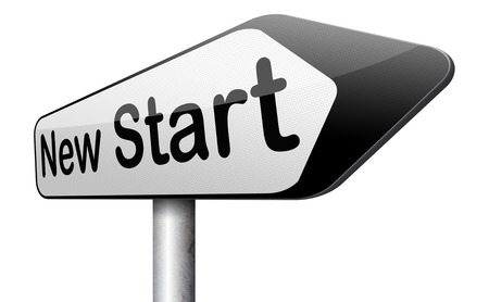 again: new start again or chance back to the beginning and play game road sign arrow Stock Photo