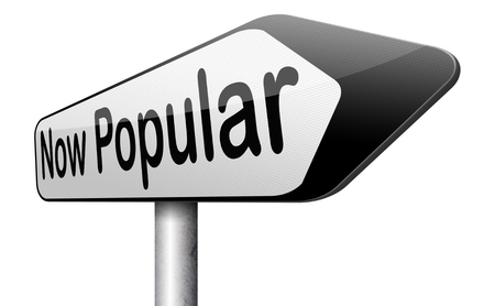 trending: now popular lastest fashion trend trending product or activity road sign arrow Stock Photo