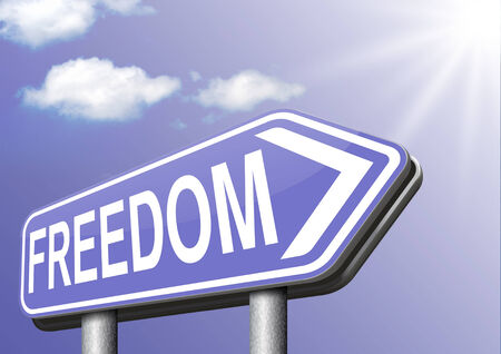 freedom peaceful free life without restrictions or obligations and peace democracy with text and word concept photo
