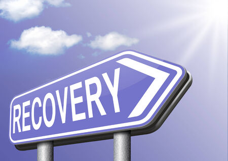 economic recovery: Recovery of lost data or from crisis and recession road to full economic recovery Stock Photo