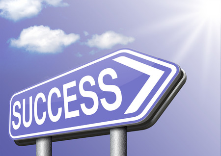 success road sign successful in business and life photo