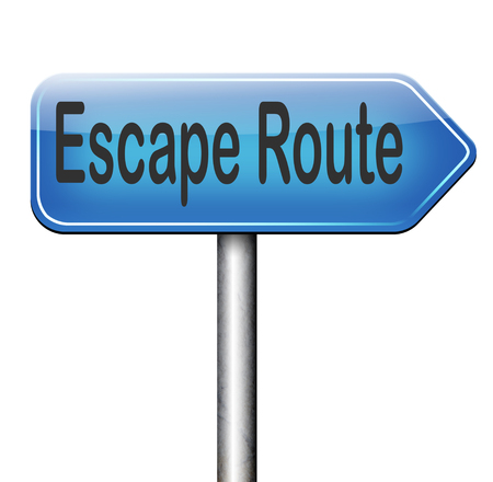 break out of prison: escape route avoid stress and break free running away to safety no rat race road sign arrow