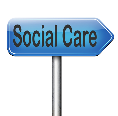 social care or health security healthcare insurance pension disability welfare and unemployment programs road sign arrow photo