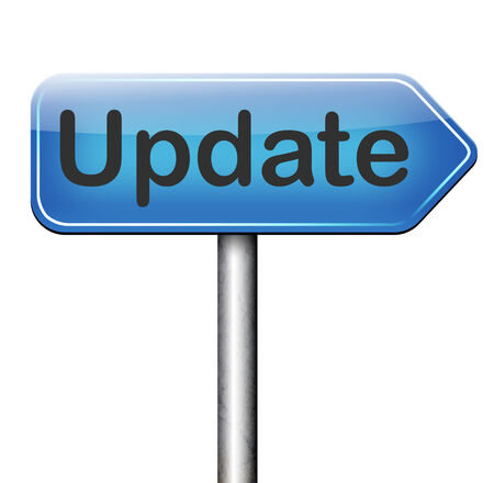 updating: Update  updating software now and here to the latest newest version or new edition Stock Photo