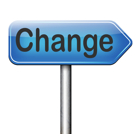 change direction: change life or world take another direction with changes for the best now changing road sign Stock Photo